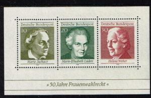 Duitsland (BRD) 1969 blok 'Frauenwahlrecht' nr 596-598