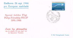 Nederland 1966 Eerste dag afstempeling Bijzondere vluchten NVPH LP 15