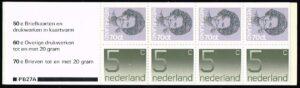 Nederland 1982 postzegelboekje PB 27a Uitgifte 16 Maart 1982 4 x 5 ct cijfer Crouwel + 4 x 70 ct Beatrix