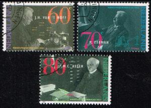 Nederland 1991 Nobelprijswinnaars gestempeld NVPH 1478-80