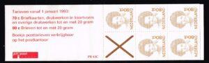 Nederland 1993 postzegelboekje PB 43c Uitgifte 2 Januari 1993 5 x 80 ct Beatrix inversie