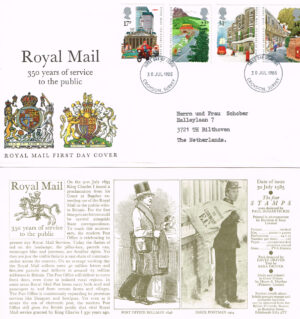 Groot Brittannië 1985 FDC 350 years Royal Mail beschreven Michel nr 1035-1038