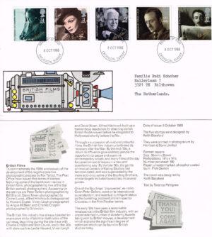 Groot Brittannië 1985 FDC British Films beschreven Michel nr 1044-1048