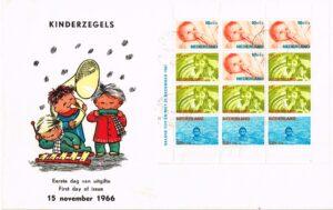 Nederland 1966 Groot formaat FDC Kinderzegels Blok