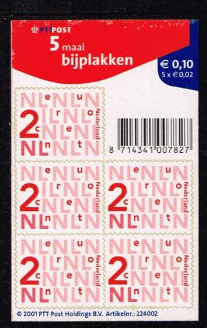 Nederland 2002 Bijplakzegels 5 x 0.02 zelfklevend velletje NVPH V2034a