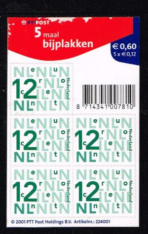 Nederland 2002 Bijplakzegels 5 x 0.12 zelfklevend velletje NVPH V2035a