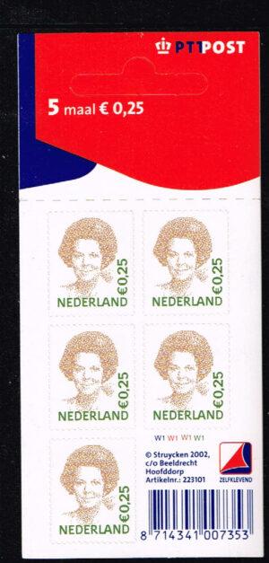 Nederland 2002 Koningin Beatrix velletje zelfklevend 5x0.25 NVPH V2036
