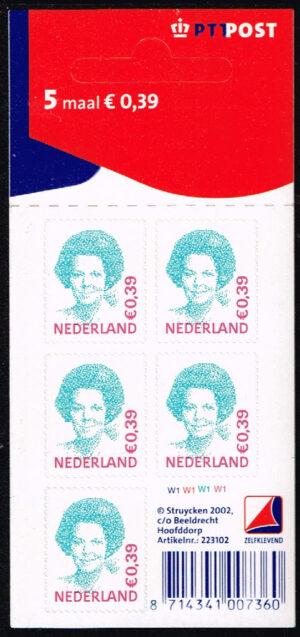 Nederland 2002 Koningin Beatrix velletje zelfklevend 5x0.39 NVPH V2037