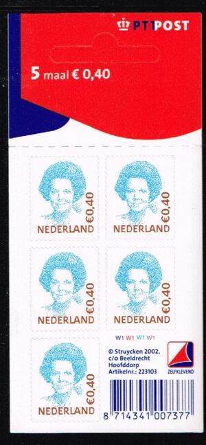 Nederland 2002 Koningin Beatrix velletje zelfklevend 5x0.40 NVPH V2038