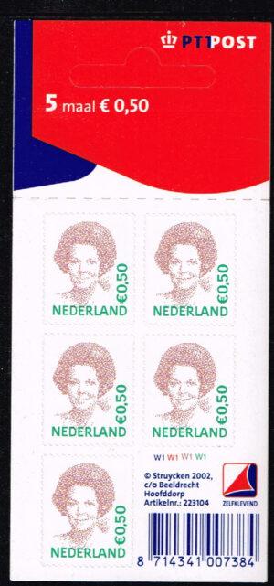 Nederland 2002 Koningin Beatrix velletje zelfklevend 5x0.50 NVPH V2039