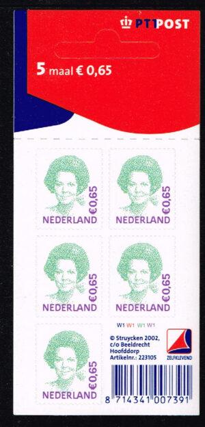 Nederland 2002 Koningin Beatrix velletje zelfklevend 5x0.65 NVPH V2040