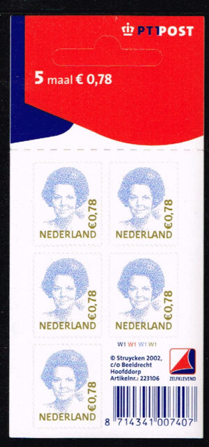 Nederland 2002 Koningin Beatrix velletje zelfklevend 5x0.78 NVPH V2041