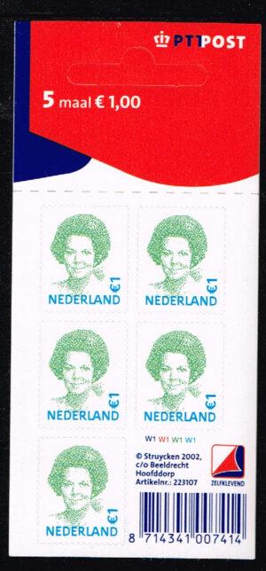 Nederland 2002 Koningin Beatrix velletje zelfklevend 5x1.00 NVPH V2042