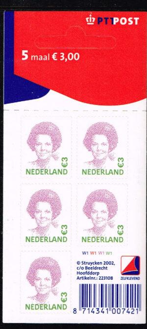 Nederland 2002 Koningin Beatrix velletje zelfklevend 5x3.00 NVPH V2043