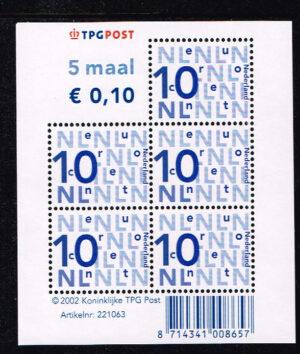 Nederland 2002 bijplakzegel 5x 0.10 TPG velletje NVPH V2135b