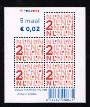 Nederland 2002 bijplakzegels 5x 0,02 TPG velletje NVPH V2034b
