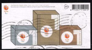 Nederland 2016 Olympische Spelen blok 3 zegels gestempeld NVPH 3430