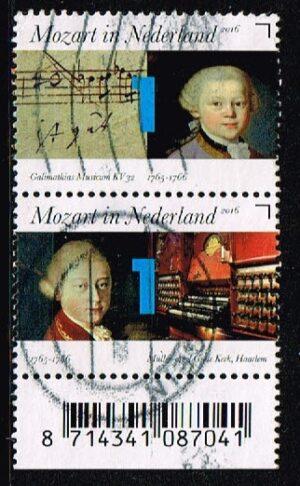 Nederland 2016 Mozart in Nederland gestempeld (2) NVPH 3414-3415