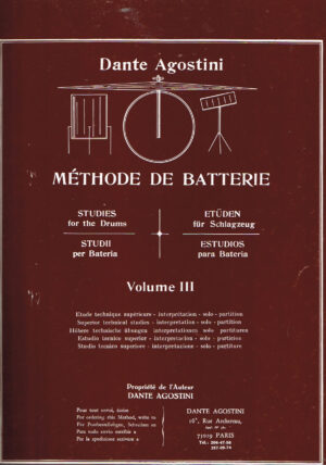 Dante Agostini Methode de Batterie studies for the Drums volume III