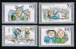 Duitsland (BRD) 1990 serie 'Jugend. Max und Moritz' nr 1455-1458