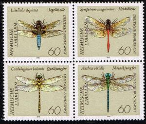 Duitsland (BRD) 1991 Libellen 4er Block Michel nr 1546-49