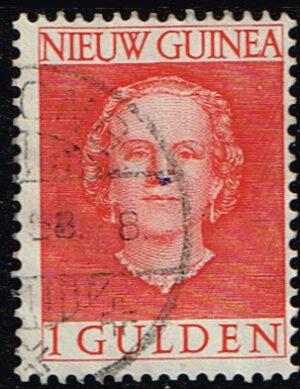 Nederlands Nieuw Guinea 1950-1952 Koningin Juliana 1 gld gestempeld NVPH 19