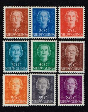 Nederlands Nieuw Guinea 1950-1952 serie Koningin Juliana NVPH 10-18