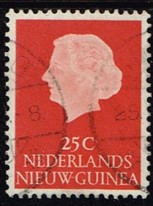 Nederlands Nieuw Guinea 1954-1960 Koningin Juliana 25 cent gestempeld NVPH 30