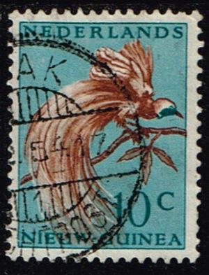 Nederlands Nieuw Guinea 1954 Paradijsvogels 10 cent gestempeld NVPH 27