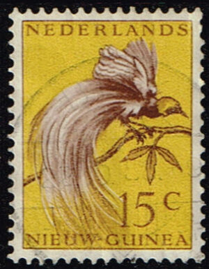 Nederlands Nieuw Guinea 1954 Paradijsvogels 15 cent gestempeld NVPH 28