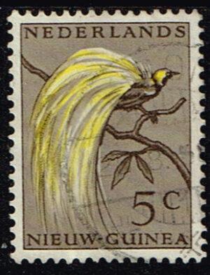 Nederlands Nieuw Guinea 1954 Paradijsvogels 5 cent gestempeld NVPH 26