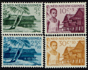 Nederlands Nieuw Guinea 1956 serie Leprazegels NVPH 41-44