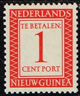 Nederlands Nieuw Guinea 1957 Cijfer en waarde in rechthoek 1 cent NVPH P1