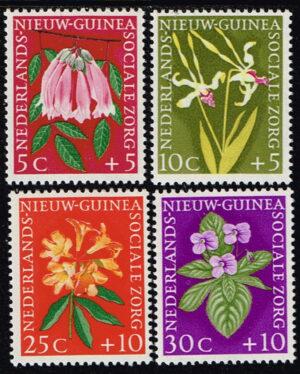 Nederlands Nieuw Guinea 1959 serie Sociale Zorg bloemen NVPH 57-60