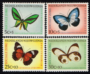Nederlands Nieuw Guinea 1960 serie Sociale Zorg vlinders NVPH 63-66