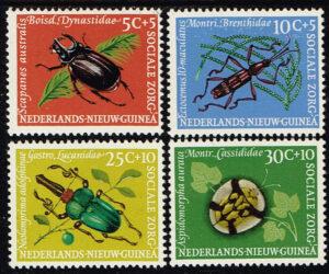 Nederlands Nieuw Guinea 1961 serie Sociale Zorg Kevers op planten NVPH 69-72
