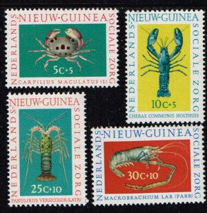 Nederlands Nieuw Guinea 1962 serie Sociale Zorg Schaaldieren NVPH 78-81