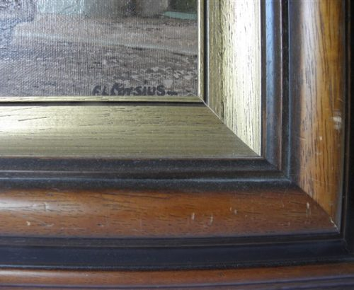 Frans Corsius stadsgezicht olieverf schilderij