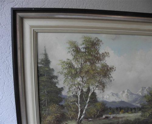 Fijn olieverf schilderwerk op linnen in een mooie lijst. Berglandschap.