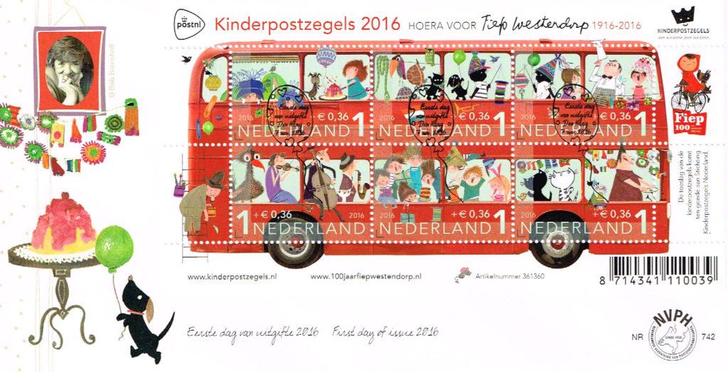 Nederland 2016 FDC Kinderzegels onbeschreven E742