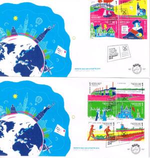Nederland 2016 FDC Postcrossing onbeschreven E727 2 enveloppen