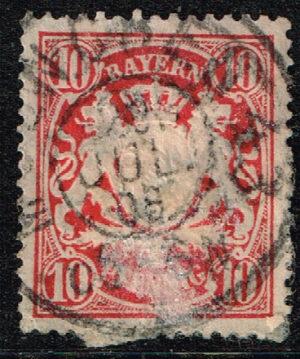 Duitsland (Bayern) 1888 Freimarke Staatswappen 10Pf Karminrot Michel nr 56