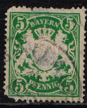 Duitsland (Bayern) 1890 Freimarke Staatswappen 5 Pf dunkelgrun Michel nr 61