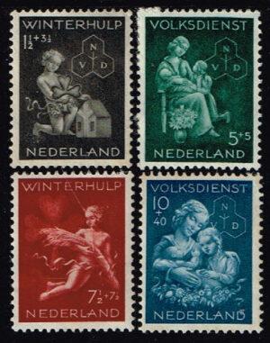 Nederland 1944 Winterhulp-Volksdienstzegels NVPH 423-425-426-427