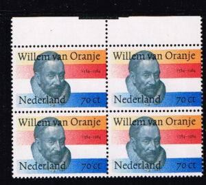 Nederland 1984 400e sterfdag Willem van Oranje NVPH 1312 blok van 4 zegels