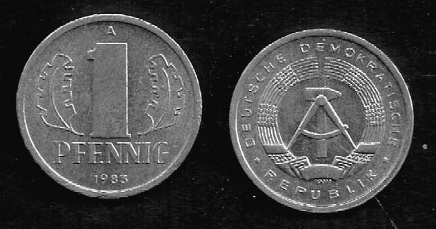 Duitsland DDR 1 pfennig 1983