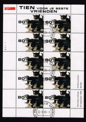Nederland 1998 Natuur en Milieu poesjes velletje NVPH V1779 gestempeld