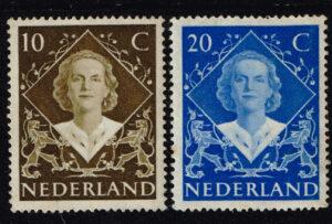 Nederland 1948 Inhuldigingszegels Koningin Juliana NVPH 506-507
