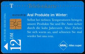 Telefoonkaart Duitsland 1998 Deutsche Telekom Aral Produkte im Winter
