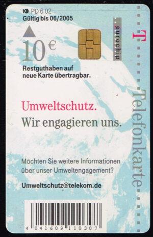 Telefoonkaart Duitsland 2002 Deutsche Telekom Umweltschutz PD 6 02